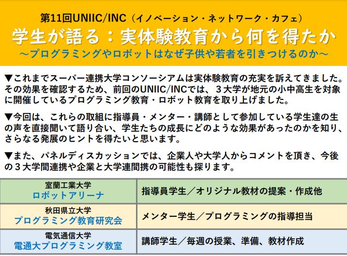 第11回UNIIC/INC(イノベーション・ネットワーク・カフェ)